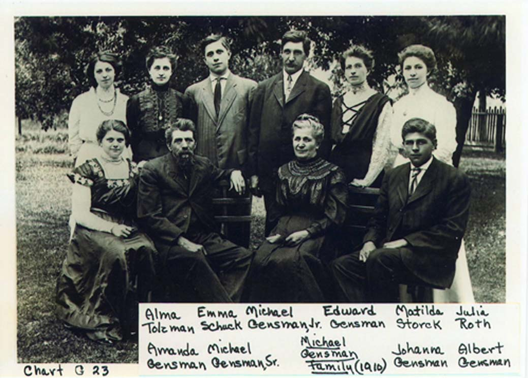 Michael Gensman (in USA) mit Familie, 1910